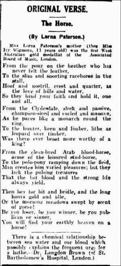 horse Western Mail (Perth, WA 1885-1954), Thursday 30 June 1932